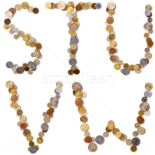 Foto stock: Alfabeto · cartas · moedas · diferente · países · carta