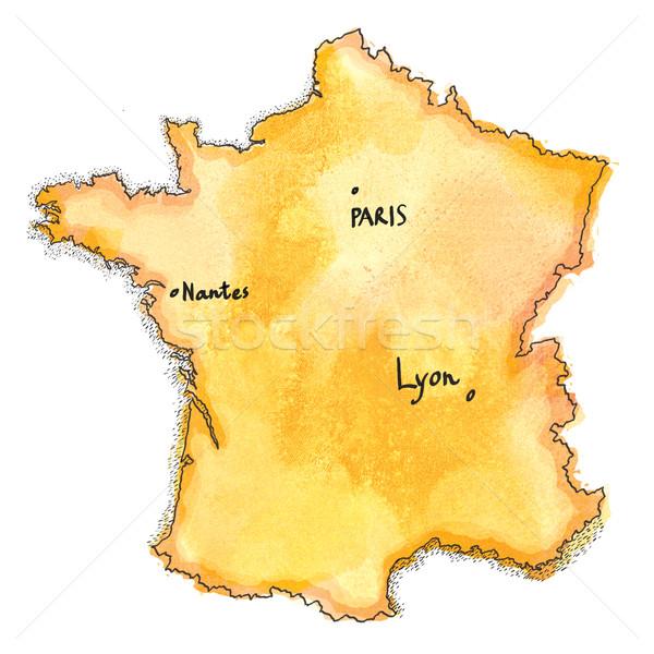 France Map Watercolor Painted Stock Photo C Tatiana Kasantseva