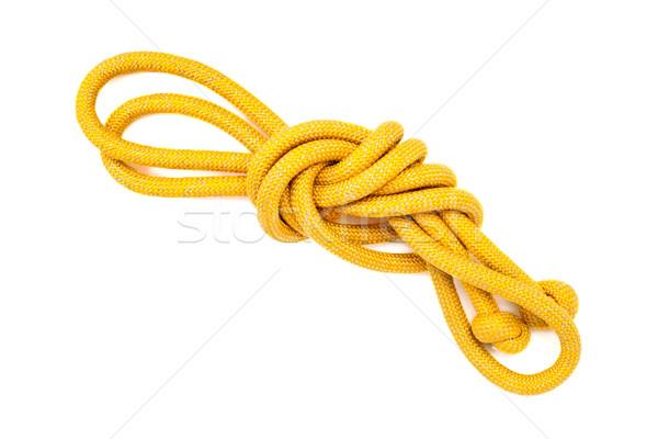 Geel touw geïsoleerd witte knoop Stockfoto © ultrapro