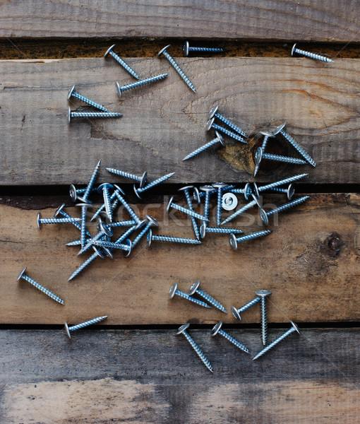 Hoop schroef houten bouw achtergrond staal Stockfoto © ultrapro