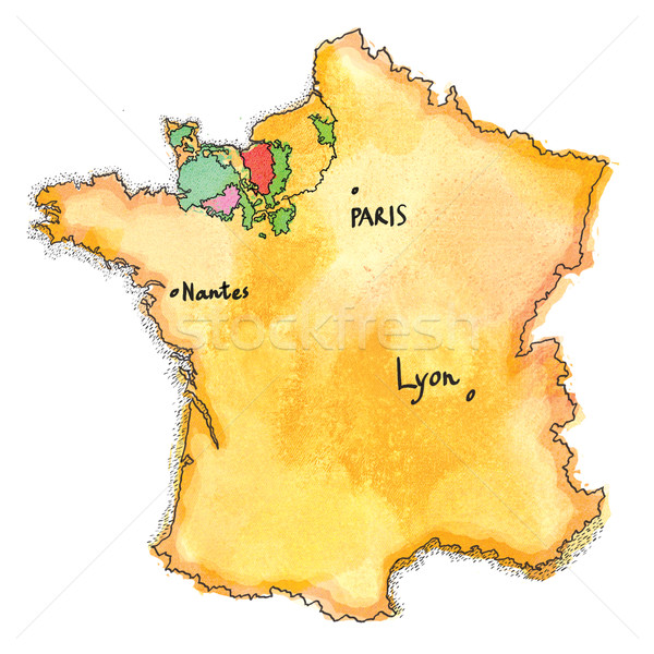 France map watercolor painted Stock photo © ultrapro