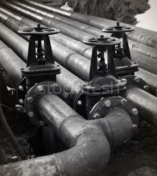 Oil and gas pipe line valves. Black and white Stock photo © ultrapro
