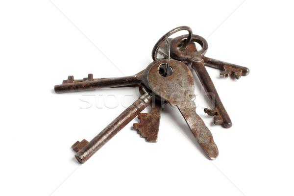 Starych klucze biały bezpieczeństwa kluczowych Zdjęcia stock © ultrapro