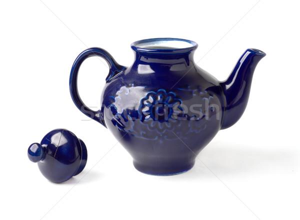 Antieke porselein theepot Blauw witte home Stockfoto © ultrapro