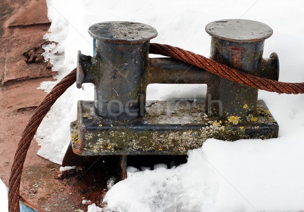 steel rope tied around the bollards. Stock photo © ultrapro