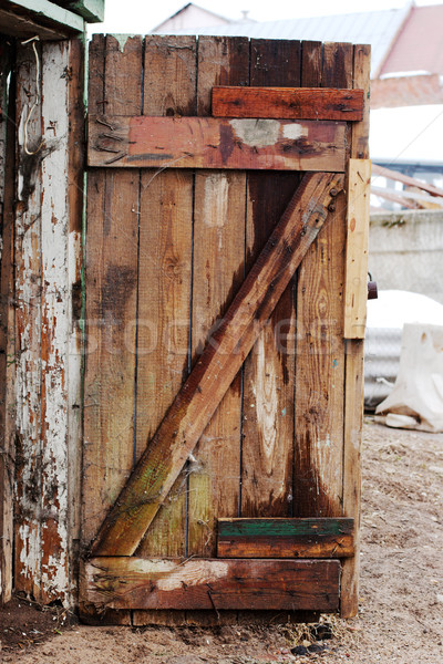 öreg fából készült ajtó elszíneződött fenyőfa Buenos Aires Stock fotó © ultrapro