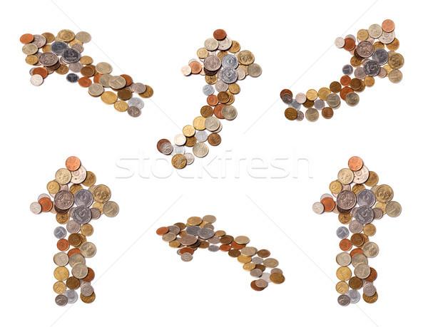 Diverso frecce monete bianco soldi segno Foto d'archivio © ultrapro