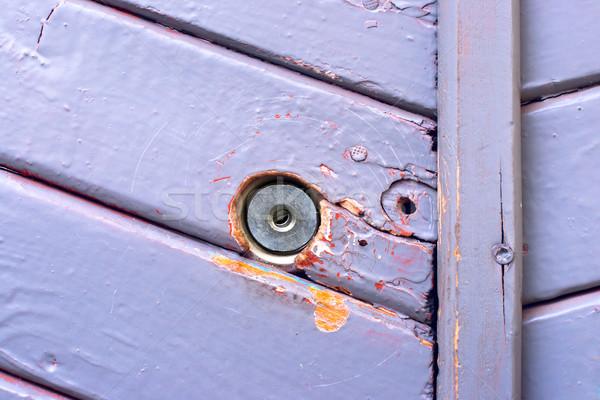 Wand Holz blau malen Schlüsselloch Stock foto © ultrapro