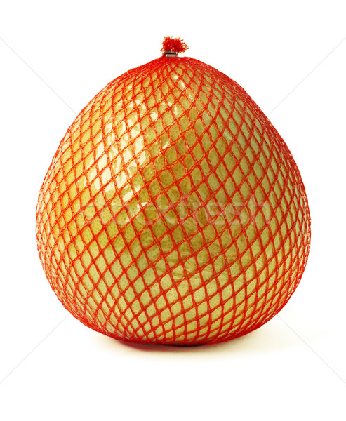 Pomelo fruit wrapped in red plastic reticle isolated on white Stock photo © ultrapro