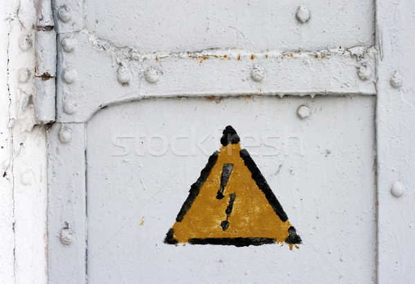 electrical hazard symbol on iron door Stock photo © ultrapro
