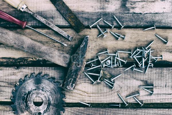 大工仕事 ツール うそをつく 古い 木製 レトロスタイル ストックフォト © ultrapro