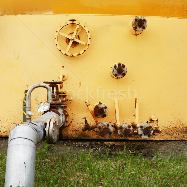 old yellow wall of the fuel tank  Stock photo © ultrapro