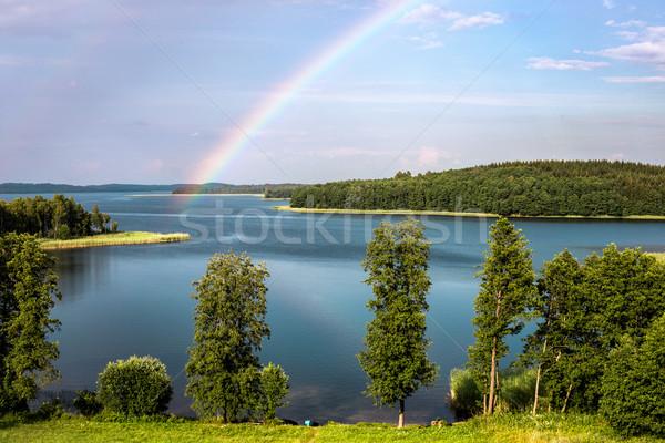 Rainbow estate lago Bielorussia regione albero Foto d'archivio © ultrapro
