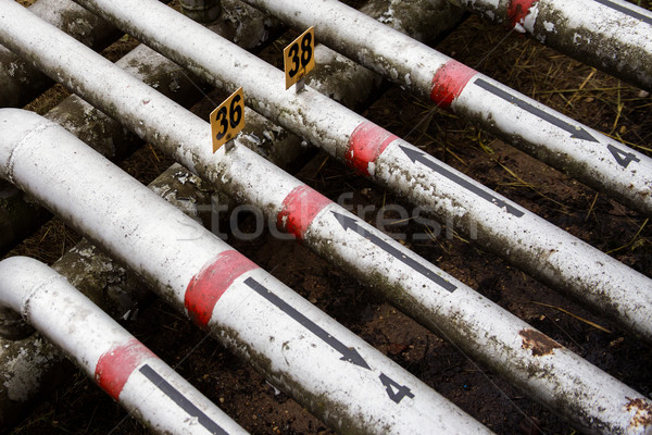 array of old pipes with painted arrows Stock photo © ultrapro