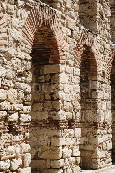Oude stenen muur boog textuur muur steen Stockfoto © ultrapro