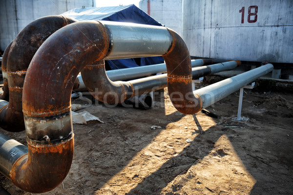 steel pipes on industrial enterprise Stock photo © ultrapro