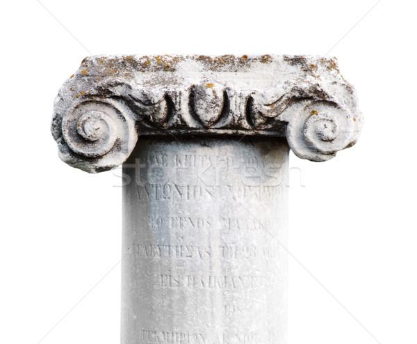Oude steen klassiek kolom witte geïsoleerd Stockfoto © ultrapro