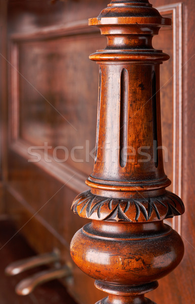 Carved wooden decoration of an old German piano Stock photo © ultrapro
