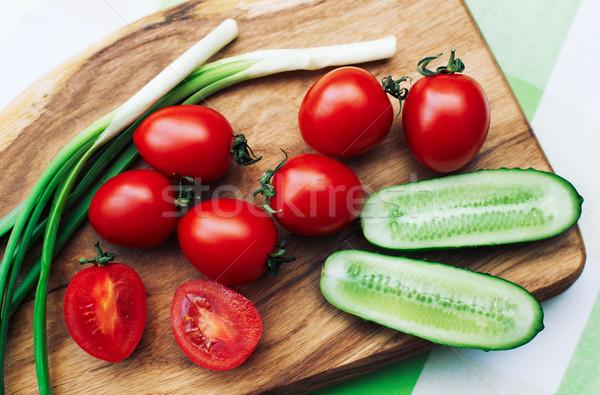 Vermelho tomates verde cebolas Foto stock © ultrapro