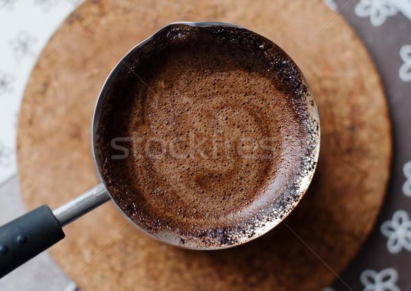 Caldo caffè preparato top view bella Foto d'archivio © ultrapro