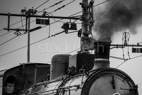 öreg gőz vonat feketefehér kép Stock fotó © umbertoleporini