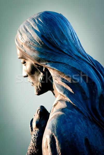 Иисус ягненка бронзовый скульптуры Пасху лице Сток-фото © umbertoleporini
