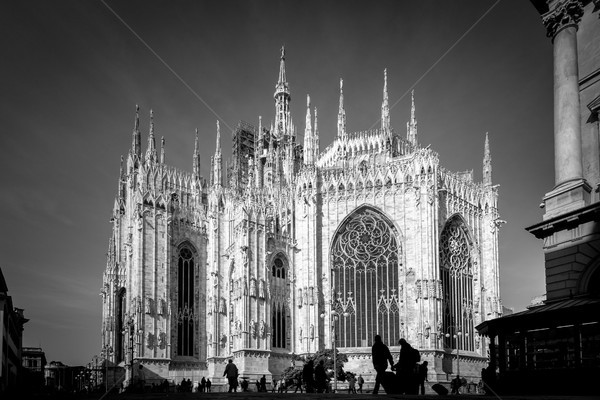 Милан черно белые изображение подробность архитектура Сток-фото © umbertoleporini