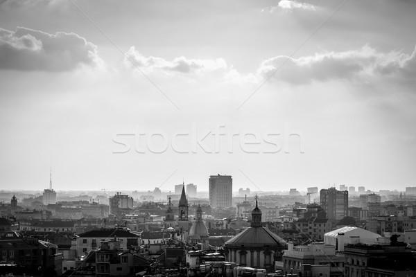 Милан город черно белые изображение Сток-фото © umbertoleporini