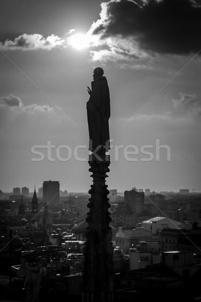 Milan Duomo detail - black and white image Stock photo © umbertoleporini