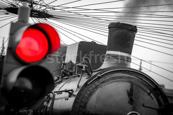 старые поезд красный светофора черно белые изображение Сток-фото © umbertoleporini