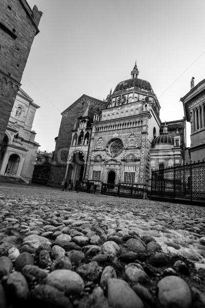 Médiévale ville blanc noir image Photo stock © umbertoleporini