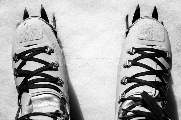 Winter alpinisme zwart wit afbeelding Stockfoto © umbertoleporini