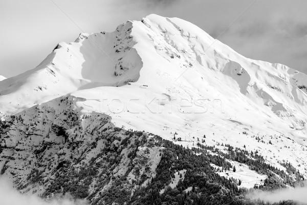 красивой зима черно белые изображение облака Сток-фото © umbertoleporini