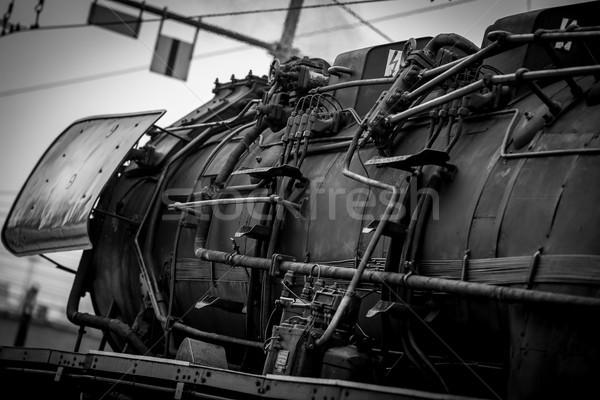 старые пар поезд черно белые изображение Сток-фото © umbertoleporini