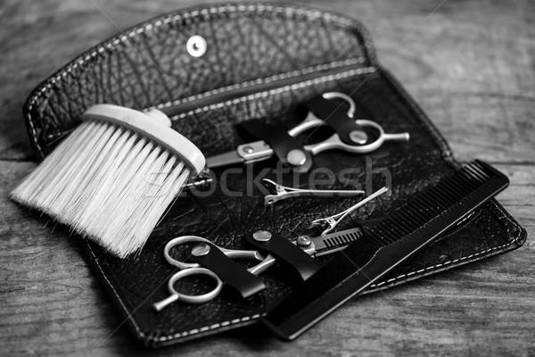 парикмахер инструменты черно белые фото древесины волос Сток-фото © umbertoleporini