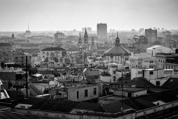 Milaan stad zwart wit afbeelding Stockfoto © umbertoleporini