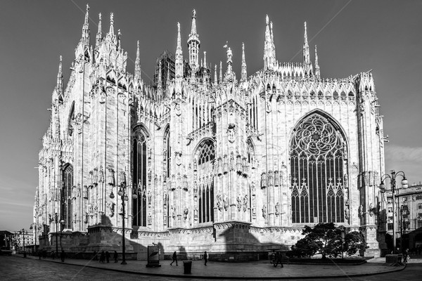 Milan Duomo detail - black and white image Stock photo © umbertoleporini