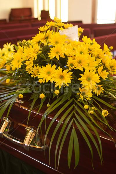 Stock photo: Flowers on Casket