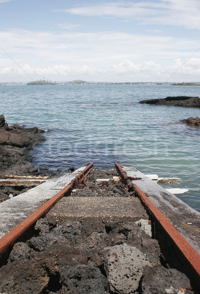 Train track into the ocean Stock photo © Undy