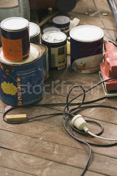 Rendbehoz szerszámok festmény szoba textúra munka Stock fotó © Undy