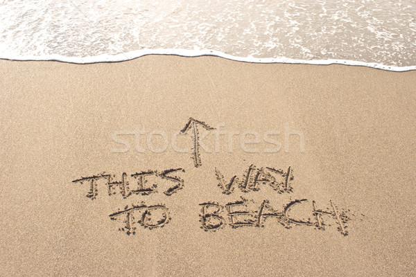 Erre tengerpart írott homok Új-Zéland víz Stock fotó © Undy