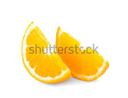 Fruto de laranja metade isolado branco folha laranja Foto stock © ungpaoman