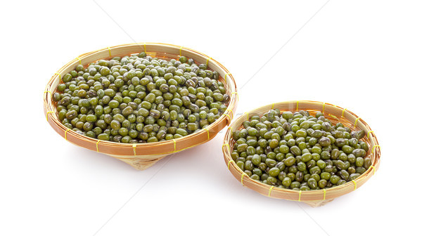green bean seeds in wooden basket isolated on white background Stock photo © ungpaoman