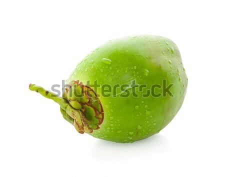 Foto stock: Gota · de · agua · verde · coco · aislado · caída