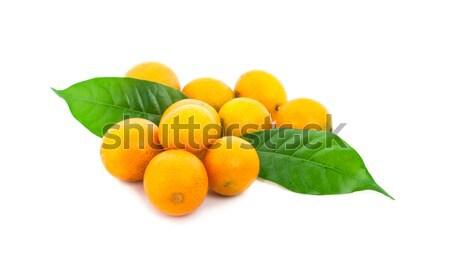 Fruto de laranja metade isolado branco laranja verde Foto stock © ungpaoman