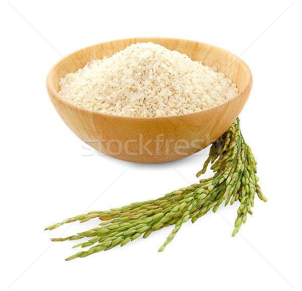white rice (Thai Jasmine rice) in wooden bowl and unmilled rice  Stock photo © ungpaoman