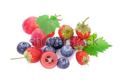 Frutas frescas misto baga isolado comida folha Foto stock © ungpaoman