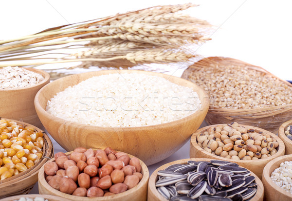 Cereal grains , seeds, beans on wooden background Stock photo © ungpaoman