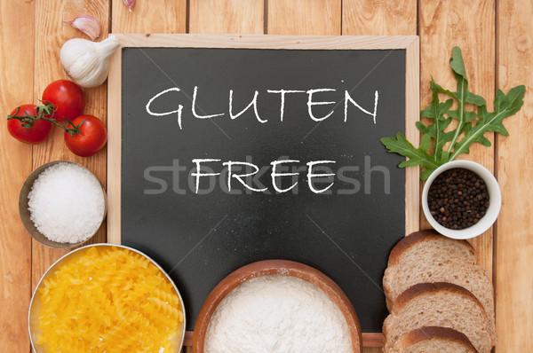Glutensiz imzalamak tebeşir tahta mutfak Stok fotoğraf © unikpix