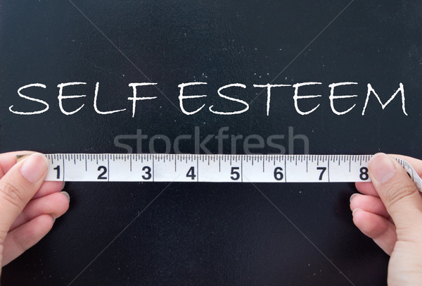 Autostima nastro di misura parola manoscritto lavagna nastro Foto d'archivio © unikpix